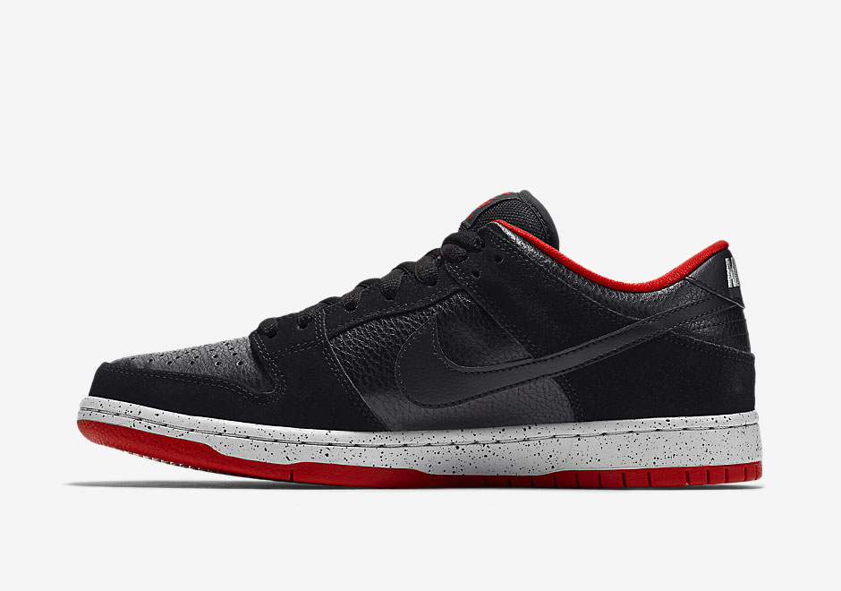 304292-050 Nike SB Dunk Low Black/Wolf Grey-University Red-Black