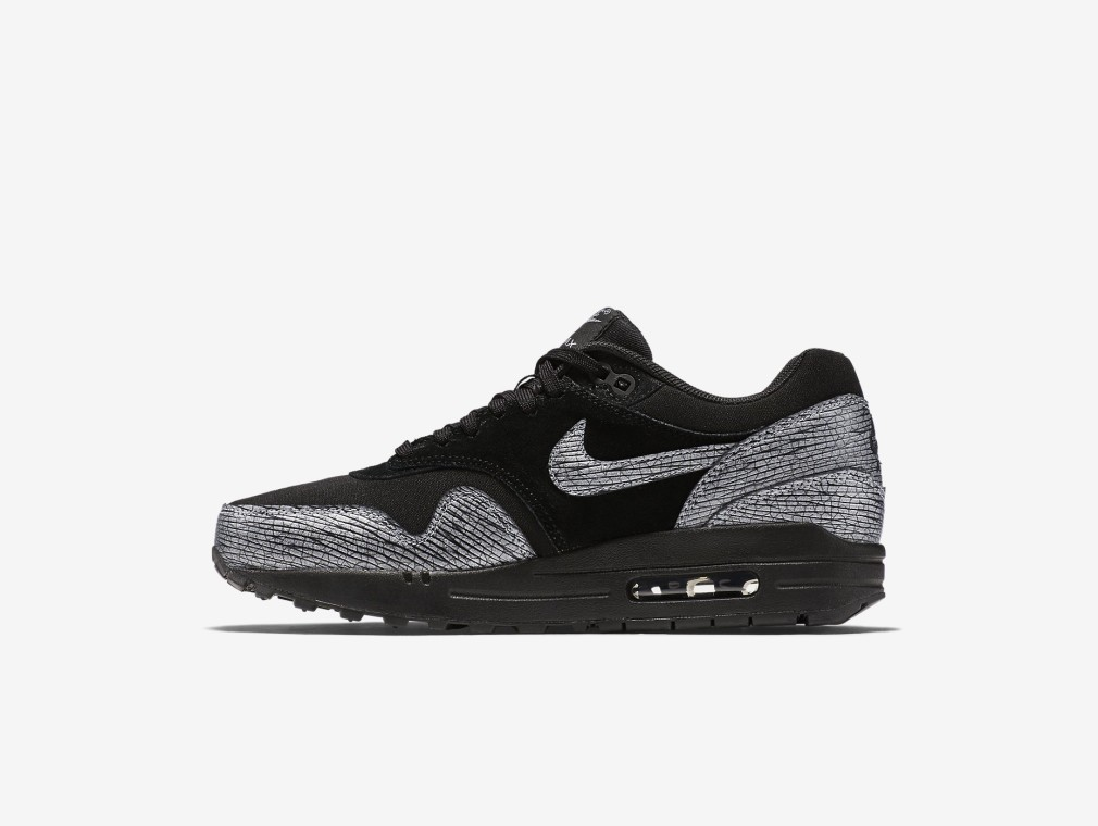 454746-005 Nike Air MAx 1 PRM 'Crakle Pack' Noir/Noir/Hématite métallique