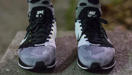 Nike Flyknit Racer Black White Neon