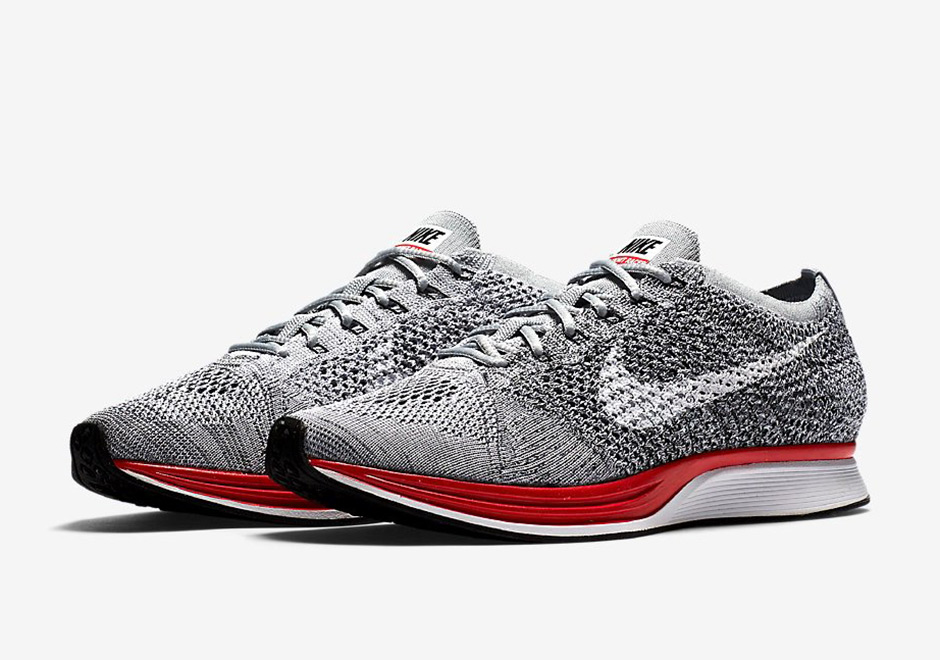 Nike Flyknit Racer Wolf Grey Red