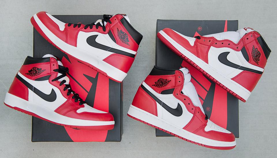 Comparaison de la Air Jordan 1 'Chicago' Retro 2015 555088-101 VARSITY RED:BLACK-WHITE et de la Air Jordan 1,5 'Chicago Retro 2015 768861-601