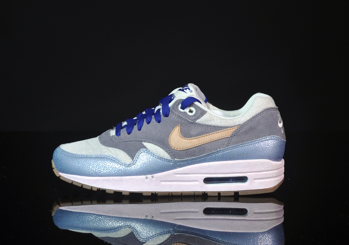 nike wmns air max 1 prm silber grau braun sneakers addict. Black Bedroom Furniture Sets. Home Design Ideas