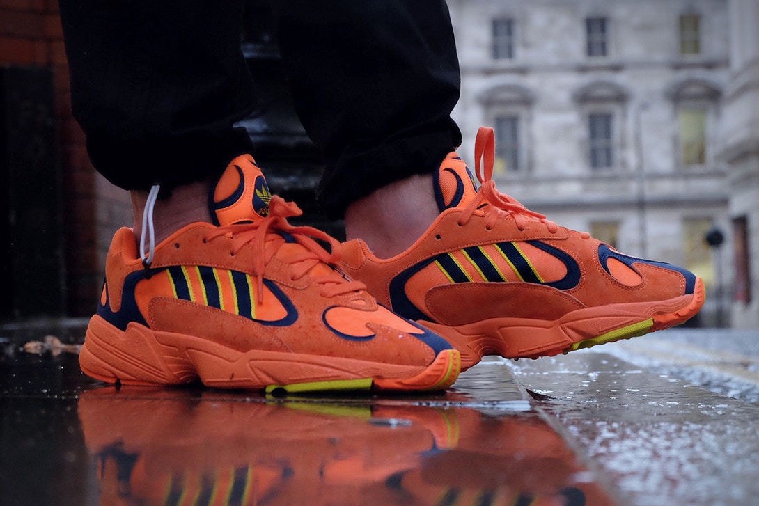 Adidas Yung 1 Orange on feet