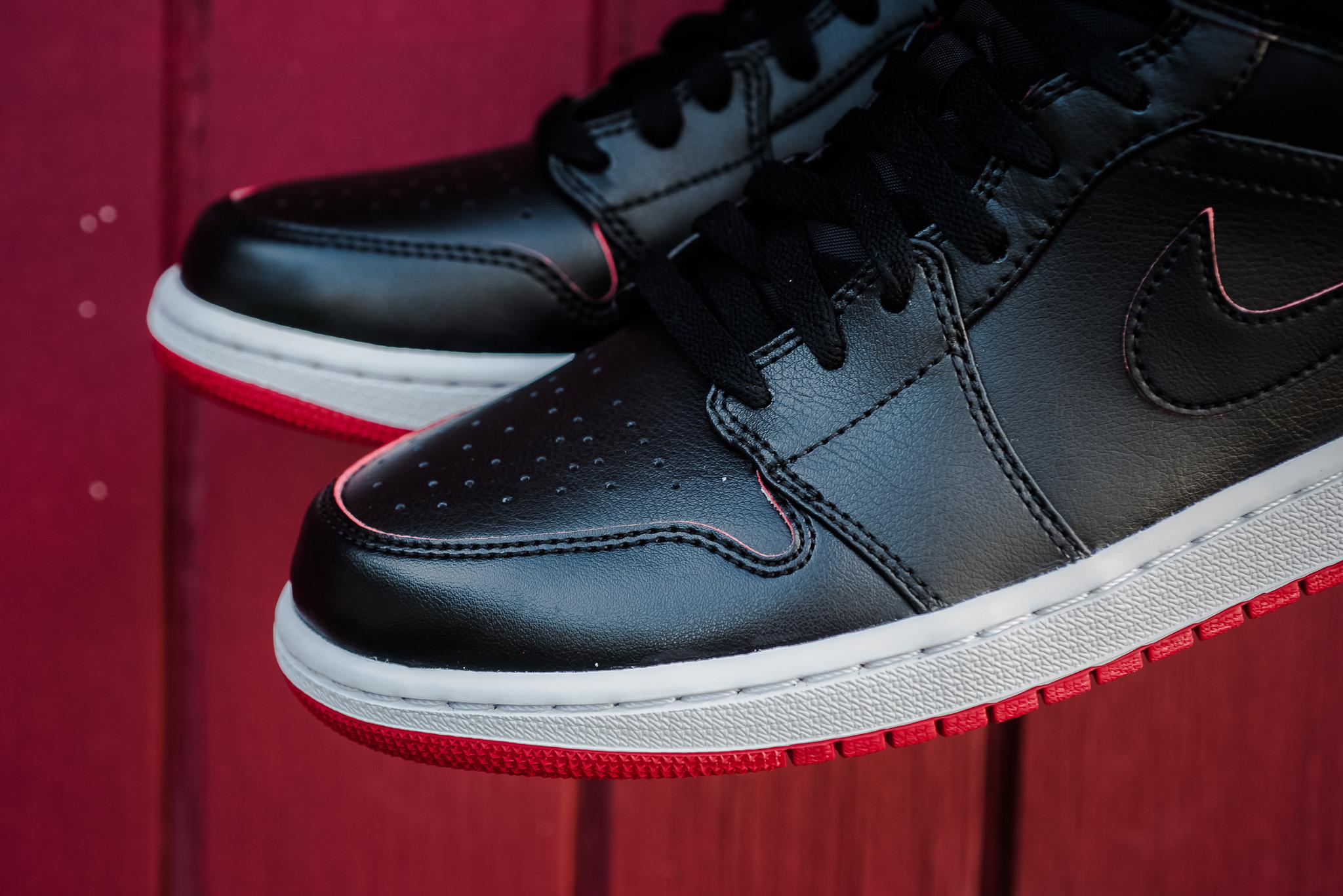 air jordan 1 mid black gym red sneakers addict. Black Bedroom Furniture Sets. Home Design Ideas