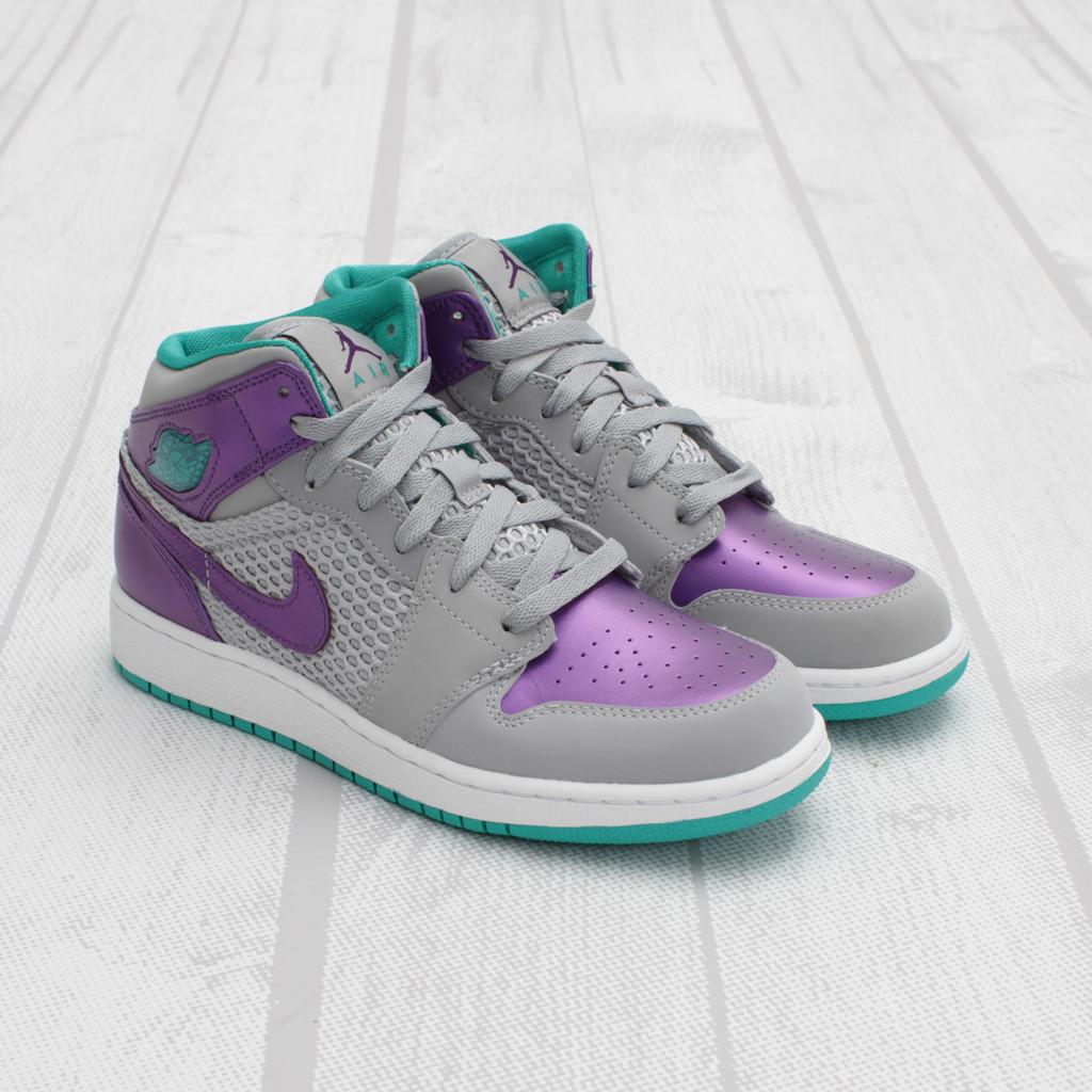 Air Jordan Girls 1 Phat Wolf Grey Ultraviolet Green