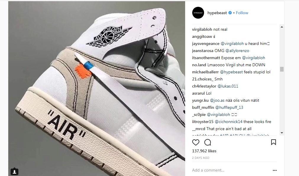 Virgil Abloh dénonce une paire Fake sur Instagram | WAVE®